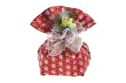Sacchetto Rosso con disegno floreale.