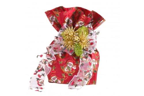 Sacchetto Rosso con disegno Babbo Natale.
