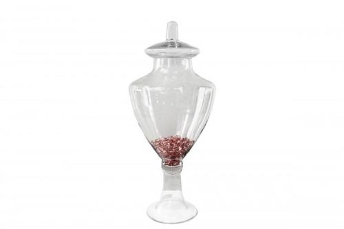 Vaso C/Coperchio in Vetro Trasparente Altezza 56,5 cm