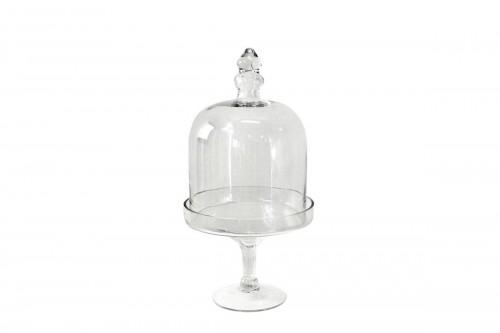 Alzata c/Coperchio in Vetro Trasparente Altezza 52,5 cm