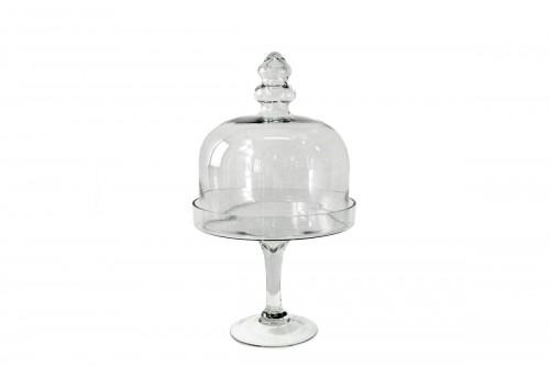 Alzata c/Coperchio in Vetro Trasparente Altezza 43,5 cm