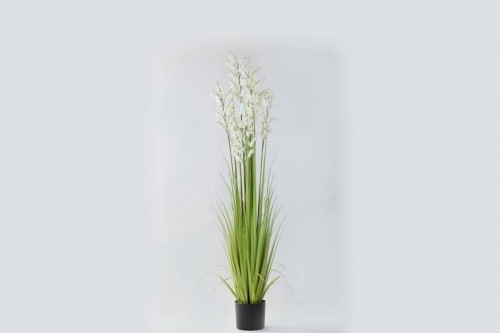 Pianta Artificiale di Campanula Bianca con vaso di plastica. Altezza 152 cm