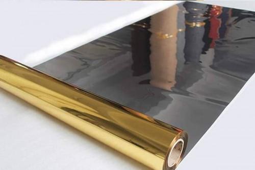 Tappeto rotolo passatoia, effetto specchiato, oro lucido, misura 1,4 x 20 mt