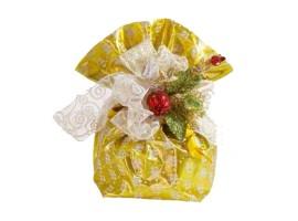 Sacchetto Oro con disegno floreale.