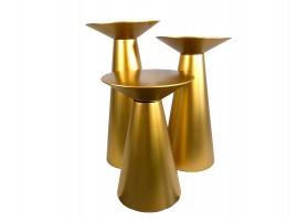 Set alzate coniche colore oro. Set da 3 pz, alt. 100/90/70 cm