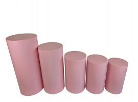 Set alzate cilindriche da 5 pz in alluminio. Colore rosa