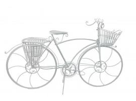 Bicicletta Elegante in ferro. Bianca. Con portavasi