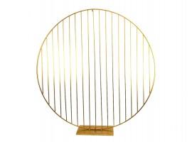 Cerchio decorativo righe in metallo colore oro. 200 x 200 x 40 cm