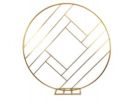 Cerchio decorativo rombo in metallo colore oro. 200 x 200 x 40 cm