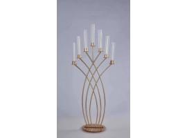 """Candeliere """"Event"""" a 7 luci in metallo. Altezza 125 cm. Colore oro"""
