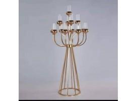 """Candeliere """"Event"""" a 13 luci in metallo, dimensioni 55 x 55 x 121 cm. Colore oro"""