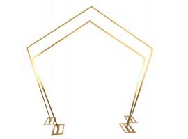 Set arco pentagono in metallo colore oro. Set di 2 pz, alt. 278/227 cm