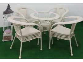 Set Tavolo Rotondo in Vetro con 4 Sedie